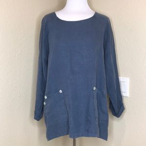 Match Point | Blue Linen Tunic Top with Pockets L